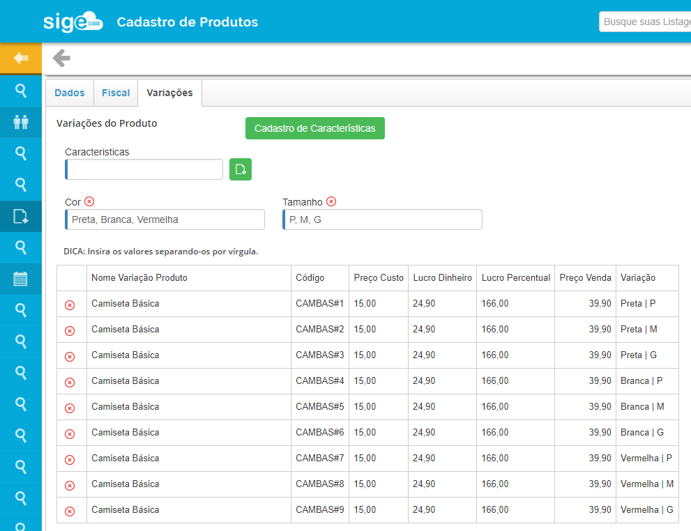 Cadastro de Características - Adicionar item