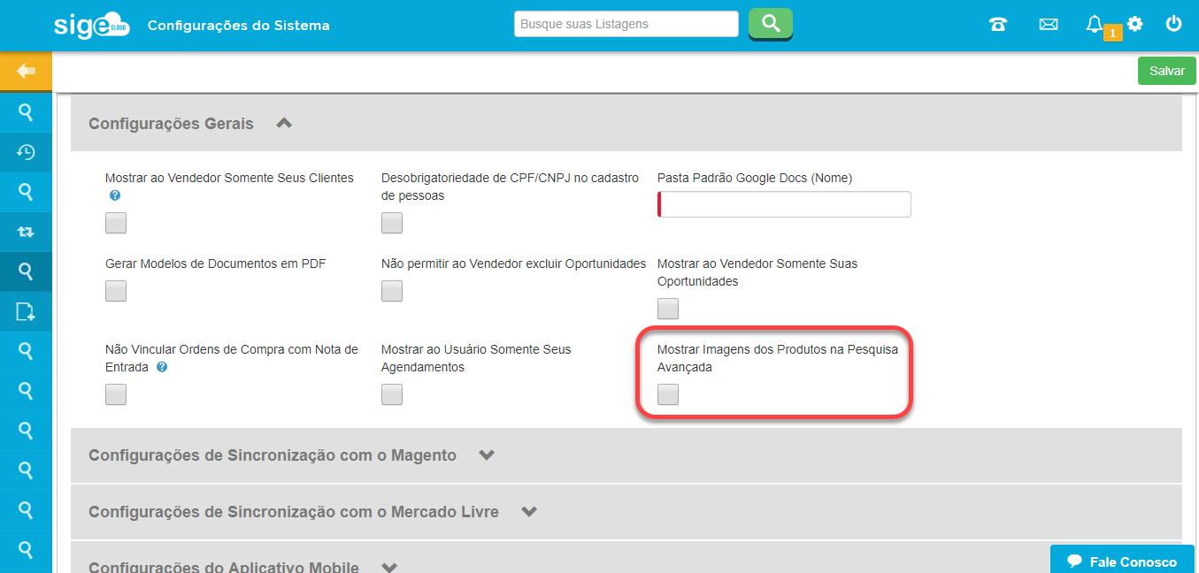 configuração do ERP imagens